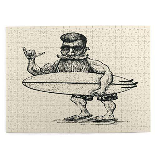 500 piezas rompecabezas para niños 52*38 cm madera Hipster surfista barba bigote gafas de sol y tabla de surf grabado Linocut hombre juguete regalo para niña niño niños adultos