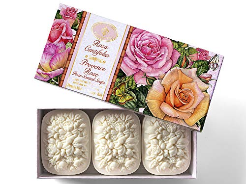 Jabón de Rosa, Rosa Centifolia, pack regalo 3 pastillas de 125 g, Jabón artesanal italiano de Saponificio Artigianale Fiorentino