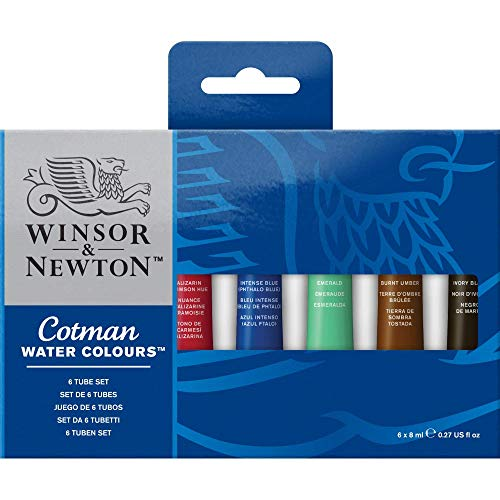 Winsor & Newton Cotman Water Colour Paint, Set of 6, 8ml Tubes