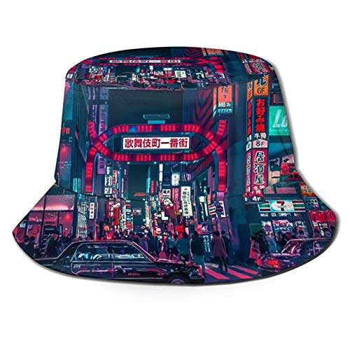 136 Happy Easter Cyberpunk Tokyo Street Travel Bucket Hat Packable Beach Sun Hat Fisherman Cap per gli uomini donne