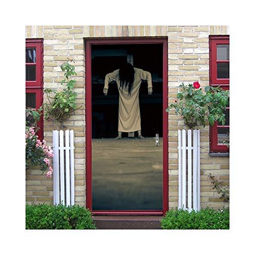 3D Halloween Der Ring Horror Sadako Tür Aufkleber 200 cm Abnehmbare Tür Kunst Wandbilder Dekoration PVC Aufkleber für Party Toilettenstange MT172 (Color : 1, Size : One Size)
