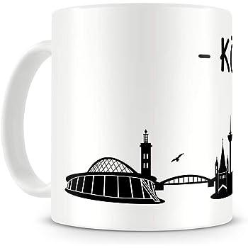Samunshi® Köln Skyline Tasse Kaffeetasse Teetasse H:95mm/D:82mm weiß
