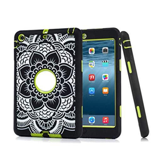 YABAISHI Funda protectora compatible con iPad mini 123, con estampado floral a prueba de golpes, goma dura (color: verde, tamaño: iPad mini 123)