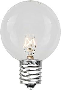 Novelty Lights 25 Pack G50 Outdoor Patio Globe Replacement Bulbs, Clear, E17/C9 Intermediate Base, 7 Watt…