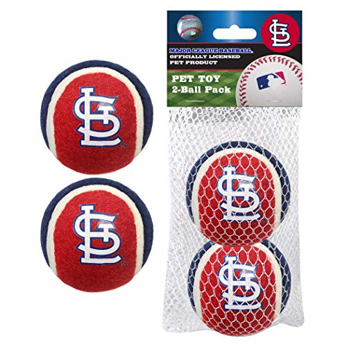 Pets First MLB St. Louis Cardinals Tennis Balls for Dogs & Cats - 2 Piece Set with Team Logo in Vibrant Team Color
