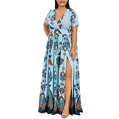 VEMOW Plus Size Elegante Damen Frauen Casual Kurzarm Kalt Schulter Boho Blumendruck Casual Täglichen Party Strand Langes Kleid Schulterfrei Strandkleid(Y3-Blau, 54 DE / 5XL CN)