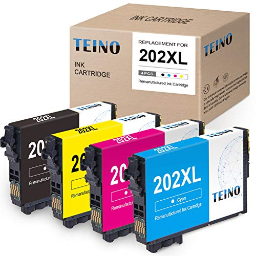 TEINO Remanufactured Ink Cartridge Replacement for Epson 202XL 202 XL T202XL use with Epson Workforce WF-2860 Expression Home XP-5100 (Black, Cyan, Magenta, Yellow, 4-Pack)