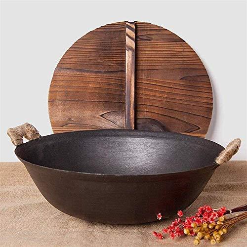 Sartén Wok Pan de hierro fundido Wok Pan doméstico Doble oreja grande olla de hierro antiguo Fondo redondo Pote multipropósito (Color : 25cm)
