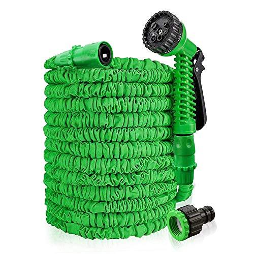 HENGMEI 45m Flexibler Gartenschlauch Wasserschlauch FlexiSchlauch Dehnbarer Schlauch Garten Handbrause mit 7 Multifunktions Sprühkopf (Grün, 45)