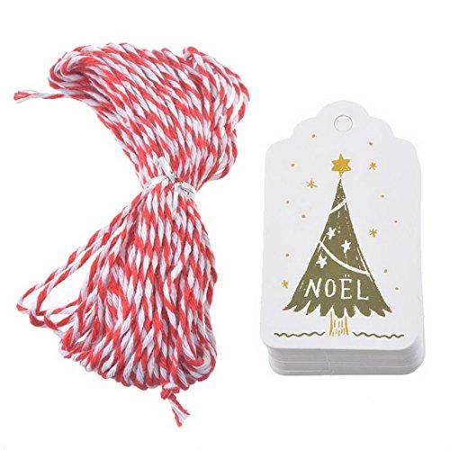 Kerstcadeaus Labels met koord, Kraft Tag Handschoenen Hang Labels voor Kerstmis Bruiloft Verjaardag #2