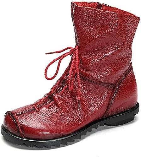 Gaslinyuan Lace Up Zipper damen Stiefel Flat Tobillo Cuero Vintage Soft schuhe (Farbe   rot, tamaño   EU 38)