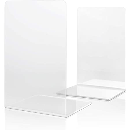 Kuqqi 1 Pair 2 Pcs Clear Acrylic Bookends Book Organizer Small Bookshelves Acrylic Ends Clear Book Ends for Bedroom Office School Supplies