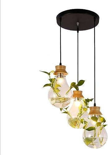 Moderne Simplicité En Bois Massif Lampe Suspendue Design Pastoral Plante En Verre Pendentif Lumière LED Pendentif Bar Comptoir Décoration Pendentif Lumière Cuisine Personnalité Pendentif Lumière