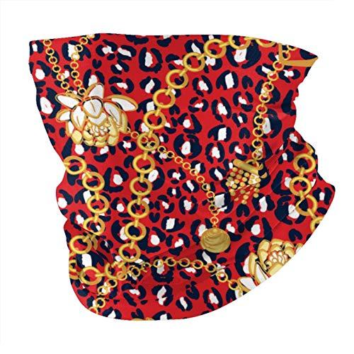 Jiayou J Cadenas doradas patrón de red roja con flores atrevidas, color rojo, versátil, multifunción, para el cuello, pasamontañas, casco de equitación para niños, mujeres, hombres, protección UV