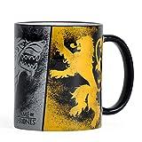 Elbenwald Game of Thrones Keramik-Tasse mit Rundum-Druck Häuserwappen Stark Lannister und Targaryen...