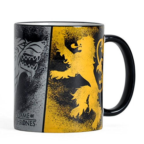 Elbenwald Game of Thrones Tasse Häserwappen Rundumdruck Gaffiti Look Stark Targaryen Lannister Keramik 320 ml