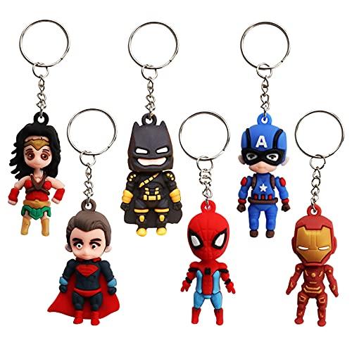 Gxhong 6 pcs Avengers Portachiavi,Keychain Figure Di Supereroi Portachiavi Iron Man Portachiavi Batman Capitan America Portachiavi In Lega Borsa Charms,per Decorazione zaino scuola superiore ragazzo