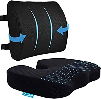 Coccyx Seat Cushion & Lumbar Support Pillow for Office Chair Car Wheelchair Memory Foam Chair Cushion for Sciatica Lower Back & Tailbone Pain Relief Desk Pad with Adjustable Strap 3D Washable Cover