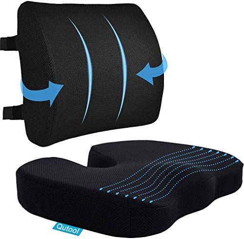 Coccyx Seat Cushion & Lumbar Support Pillow for Office Chair, Car, Wheelchair Memory Foam Chair Cushion for Sciatica, Lower Back & Tailbone Pain Relief Desk Pad with Adjustable Strap 3D Washable Cover