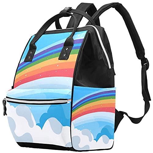Yuelai Borsa per pannolini Zaino per laptop Zaino da viaggio per donna, motivo arcobaleno