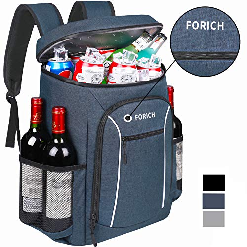 Black FORICH Cooler Backpack Soft Backpack Cooler Bag Leak Proof Insulated Cooler Backpacks to Beach Camping Hiking Picnic Work Lunch Travel for Men Women