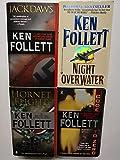 Set of 4 Ken Follett Spy War Suspense Thrillers: Jackdaws, Night Over Water, Hornet Flight, and Code to Zero
