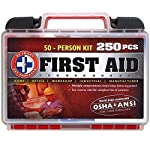 Be Smart Get Prepared First Aid Kit, 250 Piece Set 1 Count 10 250 pieces of comprehensive first aid treatment products. Manufactured by the leading manufacturer of First Aid Kits in the USA. Meets or exceeds OSHA and ANSI 2009 guidelines for 50 people. Ideal for most businesses and perfect for family use at home. Fully organized interior compartments provides quick access. Rugged, sturdy hard plastic case is impact resistant