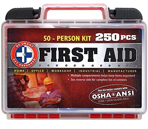 Be Smart Get Prepared First Aid Kit, 250 Piece Set 1 Count 1 250 pieces of comprehensive first aid treatment products. Manufactured by the leading manufacturer of First Aid Kits in the USA. Meets or exceeds OSHA and ANSI 2009 guidelines for 50 people. Ideal for most businesses and perfect for family use at home. Fully organized interior compartments provides quick access. Rugged, sturdy hard plastic case is impact resistant
