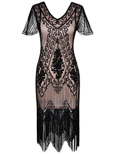 PrettyGuide Mujeres 1920 Lentejuela Deco Patrón del Pavo Real Vestido de Coctail Flapper