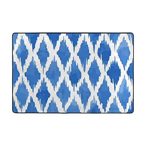 HAOXIANG Alfombra de terciopelo coral de color azul con rombos grandes para sala de estar, suave decoración del hogar