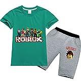 Baonmy Roblox - Traje de Manga Corta Unisex para niños, 2 Piezas, Ropa Deportiva Transpirable (Verde, 9-10 años)