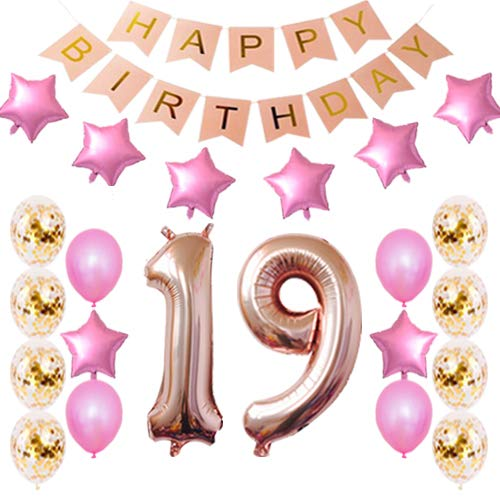 19th Birthday Decorations Party Supplies Happy 19th Birthday Confetti Balloons Banner and 19 Number Sets for 19 Years Old Party-Rose Gold