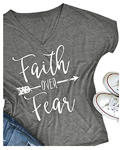 Women's Faith Over Fear Graphic Printed V Neck Casual Short Sleeve Tee Shirts