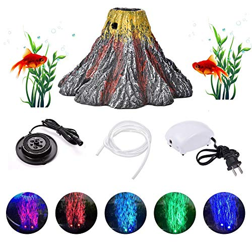 happygirr Aquarium Vulkan Form Luftblase Stein Sauerstoff Pumpe LED Lighting Aquarium Licht Fisch Aquarium Dekor 4 x 2.8in Wasserdichtigkeit IP68