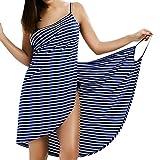 LumiSyne Vestido De Playa Mujer Bikini Cover Ups Vestido De Bikini Raya Moda Sexy Cuello En v Ropa De Baño Camisolas Pareos De Playa Talla Grande