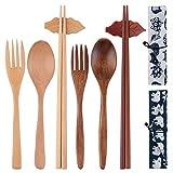 Set di 2 posate in legno, set di posate miste, utensili da viaggio legati linea riutilizzabile, posate ecologiche, set di posate portatile forchetta cucchiaio bacchette