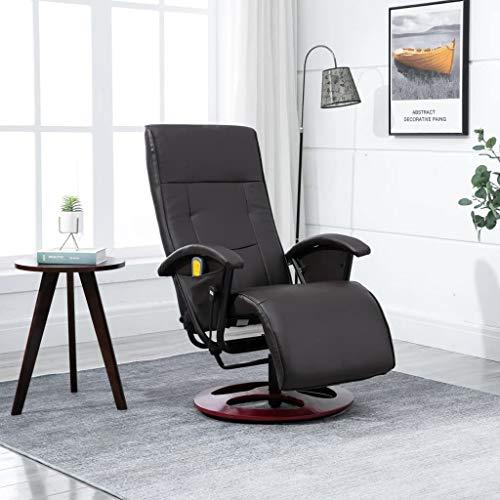 UnfadeMemory Elektrischer Massagesessel Kunstlederbezug Massagestuhl Verstellbare Rückenlehne Fernsehsessel TV Sessel Heizfunktion und Vibration 66 x 130 x 94 cm (Braun)