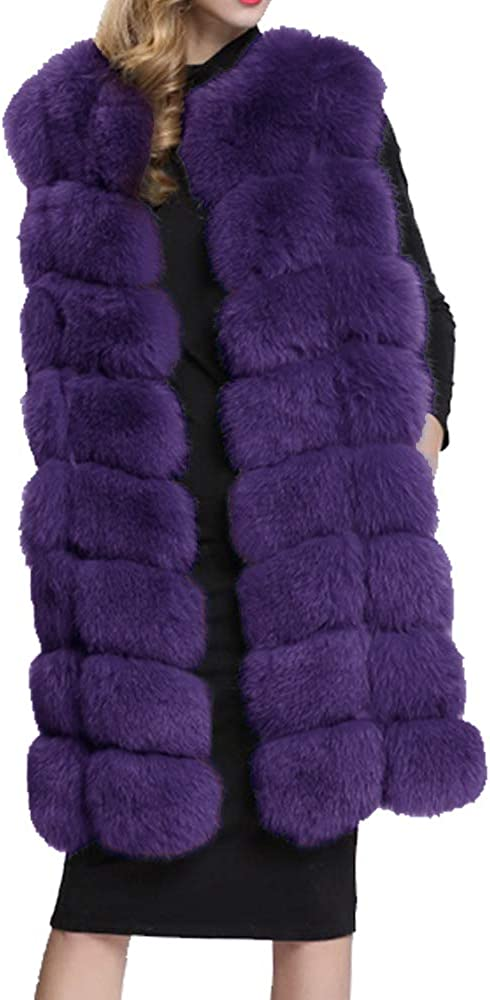 Yu He Women's Faux Fox Fur Vest Long Fur Jacket Warm Faux Fur Coat Outwear