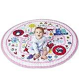 Winthomeベビープレイマット キッズ 遊びマット おもちゃ収納袋 片付けマット ブロック収納マット 綿素材 滑り止め付き 直径150cm (3)