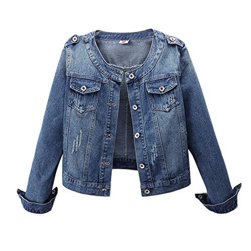 LaoZanA Damen Jeansblazer Jeansjacke Kurz Übergangsjacke Leichte Denim Jacke M
