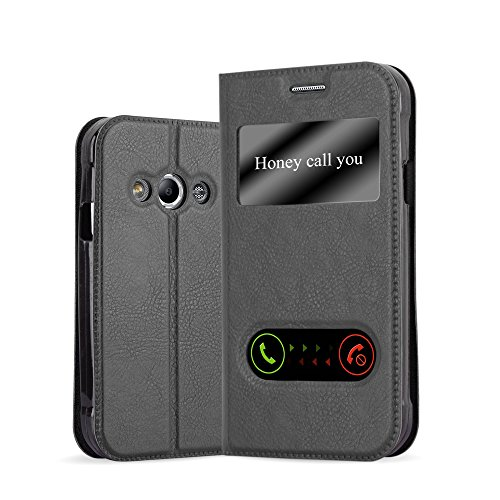 Cadorabo Hülle für Samsung Galaxy XCOVER 3 in KOMETEN SCHWARZ – Handyhülle mit Magnetverschluss, Standfunktion & 2 Sichtfenstern – Hülle Cover Schutzhülle Etui Tasche Book Klapp Style