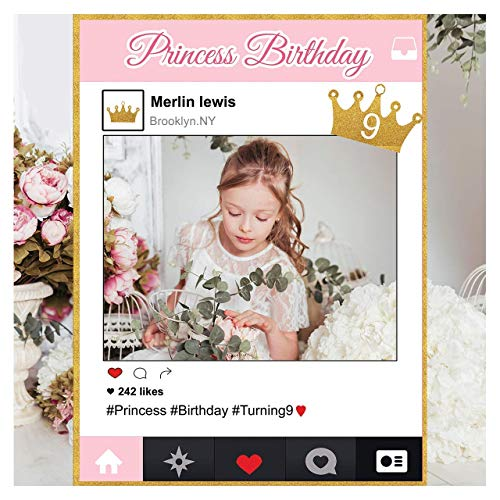 Custom Pink & Gold Princess Crown, Royal Birthday Photo Booth Frame - Sizes 36x24, 48x36; Personalized Princess Birthday, Photo Frame Photo Prop; Handmade Baby Shower Banner Decorations