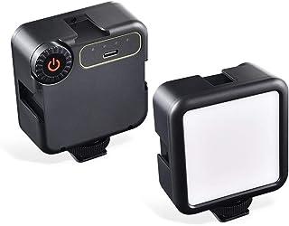 UTEBIT ビデオライト 49LED USB充電式 2100mAh カラーフィルム 6色セット付 撮影ライト コンパクト Type-C コネクタ USBケーブル付 カメラライト 5600K 無階段調光 コールドシューママント付 ソフト光 超高...