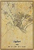 Leinwanddruck mit italienischer Cagliari-Karte,