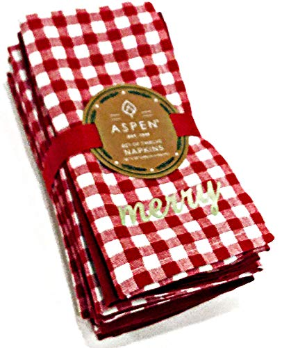 Aspen Set of 12 Fabric Christmas Napkins | 6 Gingham Plaid Inscribed Merry & 6 Solid Red | 100% Cotton -  Aspen Home
