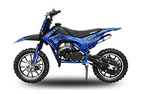 Dirtbike für Kinder Eco Serval 500W 36V Pocketbike Pitbike Bike Cross Offroad Elektro (Blau)