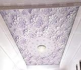 Papel Pintado 3D Púrpura Origami Flor Perla Techo Techo Fotomural 3D Papel Tapiz Moderno Wallpaper