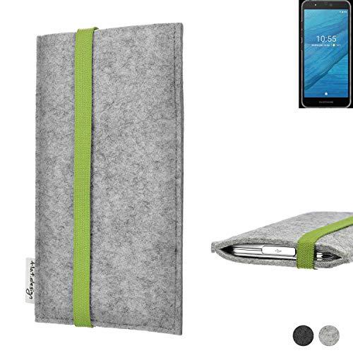 flat.design Handy Hülle Coimbra für Fairphone Fairphone 3 maßgefertigte Handytasche Filz Tasche fair grün hellgrau