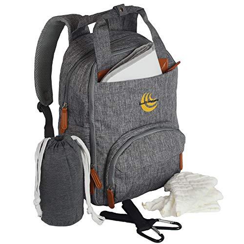 Wickeltaschen-Rucksack | Babytragetasche, Wickelunterlage, Buggy-Clips, Mullwindeln, 3 Stück