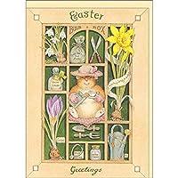 グリーティングカード イースター ピーター・クロスシリーズ 「Easter Greetings」「ねずみ/植物/ガーデニング」 動物 メッセージカード 手紙 封筒付き
